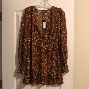 Brown polka dot long sleeve dress